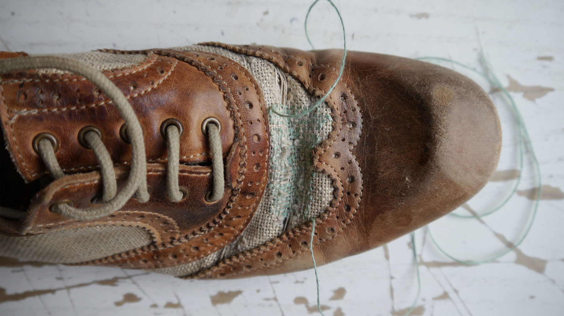 Repaired brogue shoe