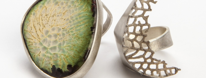 Claire Townsend, enamel ring green pattern