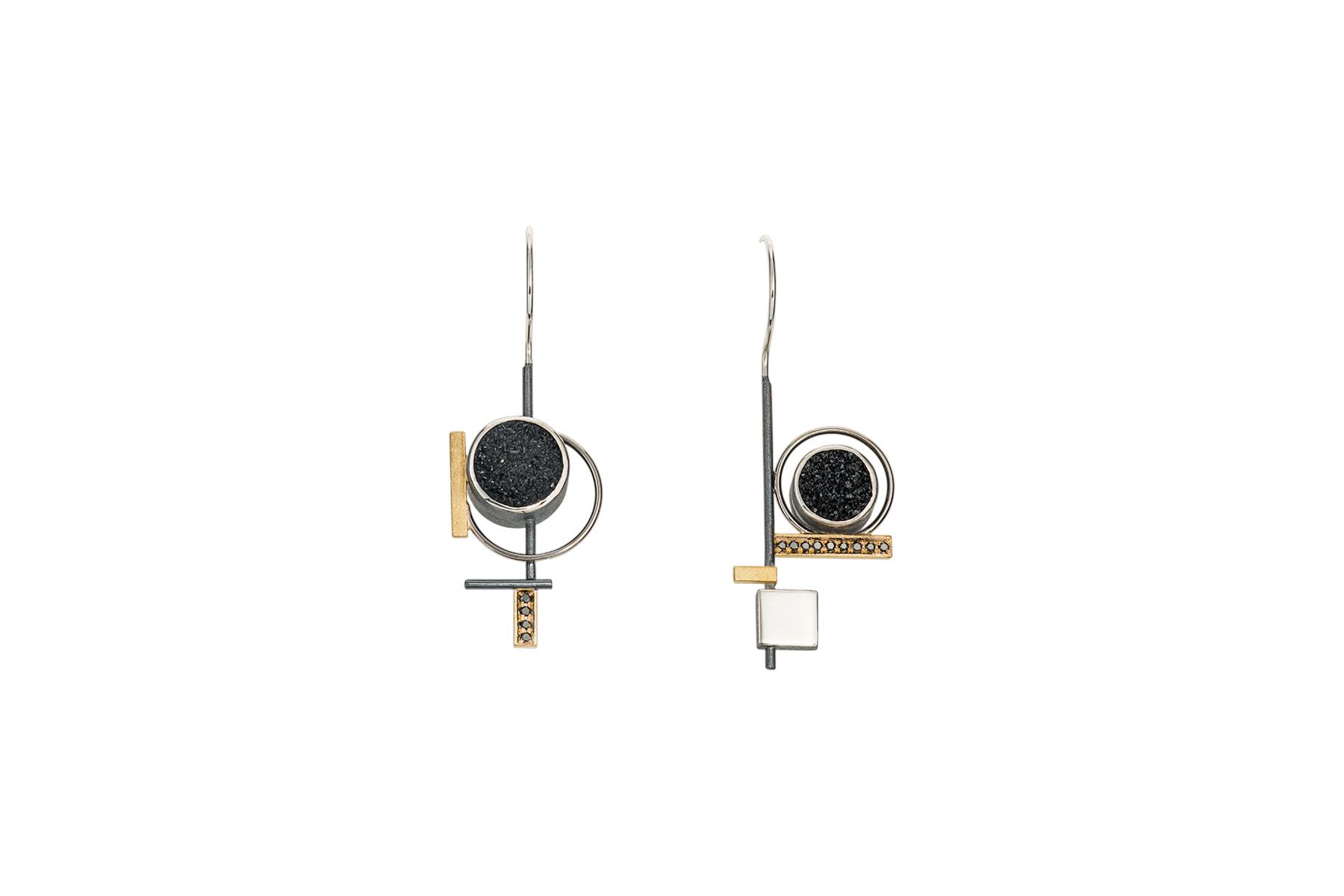 Janis Kerman, asymmetrical earrings