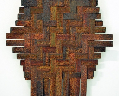 Fiona Gavino, 'Rust & Other Stories', Herringbone Weave (Gold), 2020 mild steel, board, acrylic paint