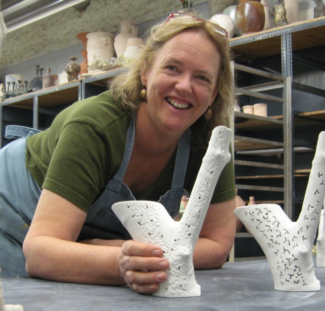 Sandra Black in the University of Manitoba's ceramics room when I was artist in residence there in 2008.