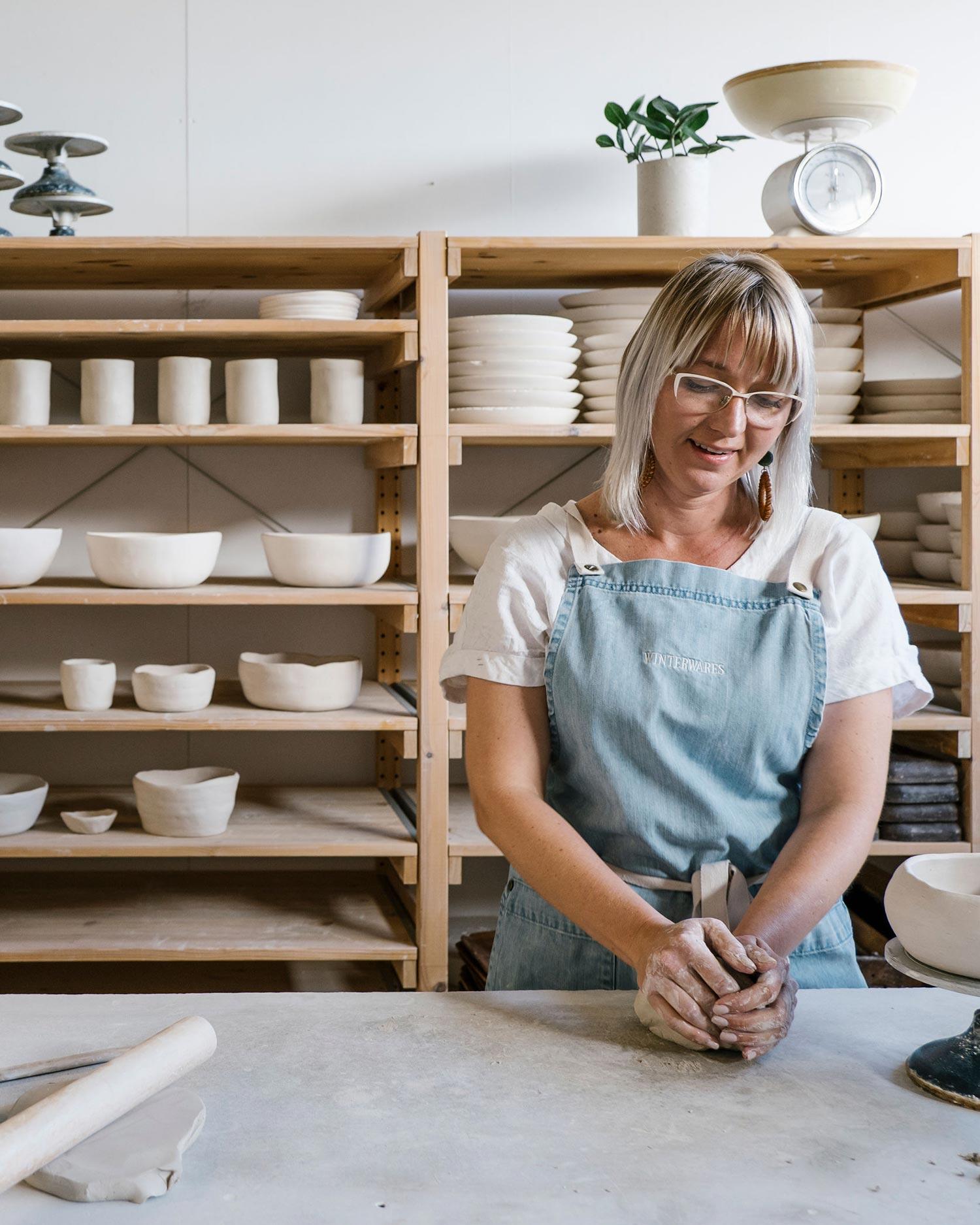Simone Nabholz in the Winterwares studio