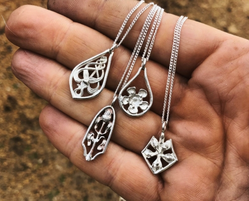 Bethamy Linton, Heritage collection pendants, Western Australian wildflowers, in the traditional Linton Sterling Silver style