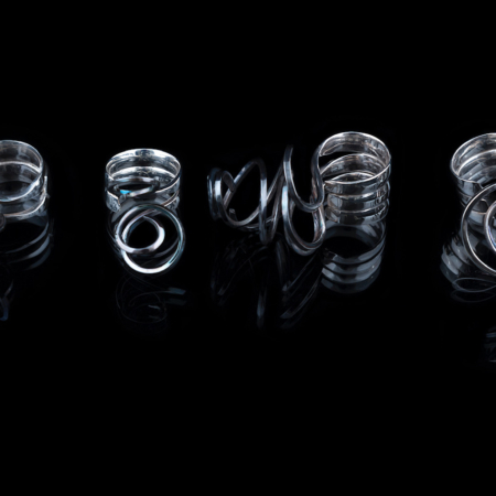 Bethamy Linton, Xanthorrhoea series rings 1-4, forged sterling silver, 2018. Collection of the Art Gallery of WA. Photo: Eva Fernandez