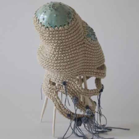 Holly OMeehan, Chippy Chip, ceramic and crochet