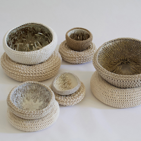 Holly OMeehan crochet and ceramic vessels