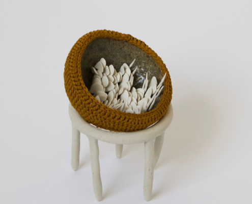 Holly OMeehan 'Untitled' crochet and ceramic