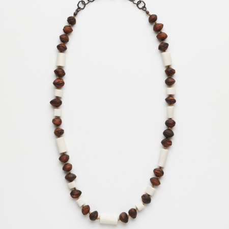 Blandine Hallé, Francaustralian 6, 2020, necklace. Cherry pits, white porcelain, copper, linen thread. Photo: Robert Frith