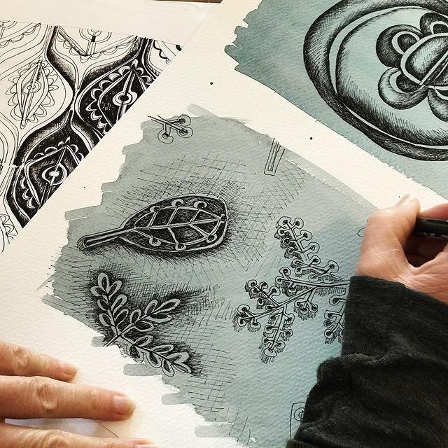 Sketched designs, ink on paper, Bukeshla