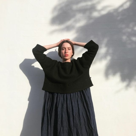 Model wearing Bukeshla top and skirt